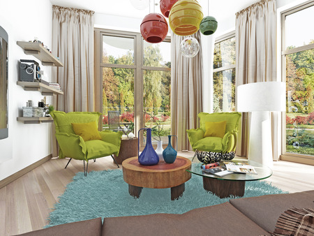 kitsch: Contemporary living room with a sitting area with two chairs. Comfortable chairs in the style of kitsch green color with a coffee table and floor lamp white. 3D render.