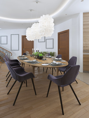 upholstered: The large dining table in the kitchen area with eight upholstered chairs and beautiful chandelier over the table. Design dining room in a contemporary style. 3D render.