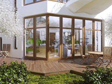 Die Sonnenterrasse eines Privathauses. Boardwalkterrasse mit Tisch und Stühlen. Große Panoramafenster mit Blick auf den Garten mit Terrasse. 3D übertragen.