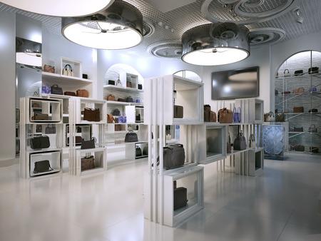 tienda de lujo de estilo deco diseño interior con toques de arte contemporáneo. tienda de interior blanco con una gran cantidad de estantes. Haga compras para la venta de bolsas en los estantes de los bolsos. render 3D. Foto de archivo