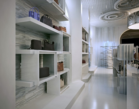 furniture detail: Luxury store interior design art deco style with hints of Contemporary. Interior white store with lots of shelves. Shop for the sale of bags on the shelves of handbags. 3D render.