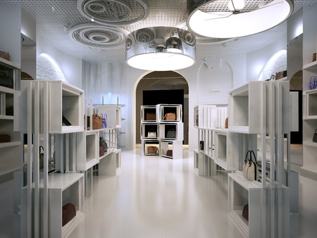 高級店インテリア デザイン アールデコ スタイル現代のヒント。棚の多くが白のインテリアの店。ハンドバッグの棚に袋の販売ショップです。3 D の 写真素材