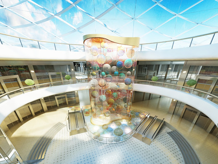 stele: Multilevel Megamall hall with glass roof and a fountain with a decorative glass stele with multi-colored balls. 3D render.