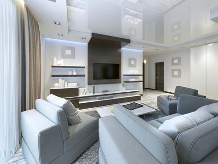 Audio-System mit TV und Regale im Wohnzimmer im modernen Stil. Holzverblendung Möbel in braun mit Dekorplatten. 3D übertragen. Standard-Bild - 64035168