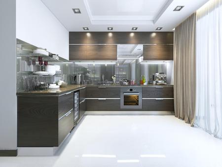 Cucina-contemporanea in marrone con pareti bianche e pavimenti in marmo. 3D render. Archivio Fotografico