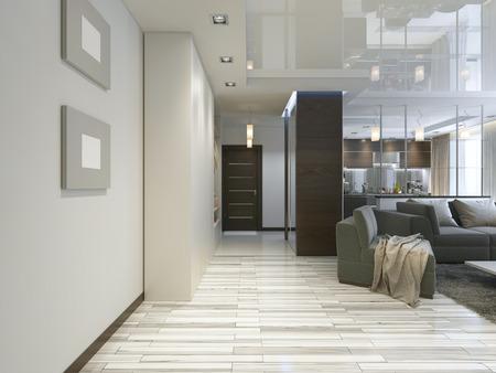 現代的なワードローブとスライド式ワードローブの廊下とホール。3 D のレンダリング。