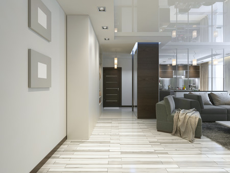 anteroom: Hall with a corridor in Contemporary style with a wardrobe and a sliding wardrobe. 3D render.