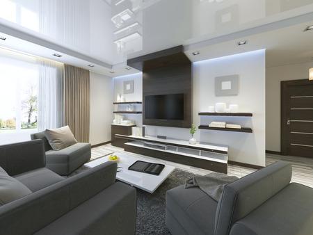 Sistema de audio con TV y estantes en el estilo contemporáneo sala de estar. muebles de chapado de madera en color marrón con paneles decorativos. render 3D. Foto de archivo - 64035178