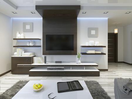 Sistema de audio con TV y estantes en el estilo contemporáneo sala de estar. muebles de chapado de madera en color marrón con paneles decorativos. render 3D.