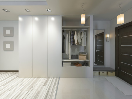 sliding door: Hall with a corridor in Contemporary style with a wardrobe and a sliding wardrobe. 3D render.