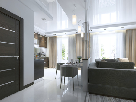 render residence: Dining in a studio apartment with a dining table and chairs for three people. Dining table served in a contemporary style. 3D render.