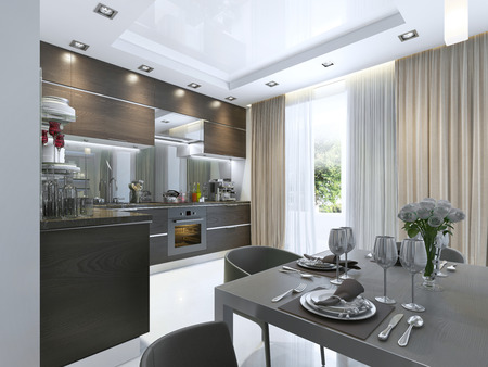 kitchen device: Kitchen Contemporary in brown with white walls and marble floors. 3D render. Stock Photo