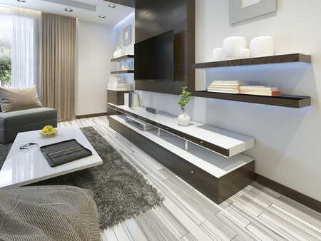 equipo de sonido: Sistema de audio con TV y estantes en el estilo contemporáneo sala de estar. muebles de chapado de madera en color marrón con paneles decorativos. render 3D.