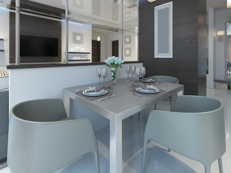 dining table and chairs: Dining in a studio apartment with a dining table and chairs for three people. Dining table served in a contemporary style. 3D render.