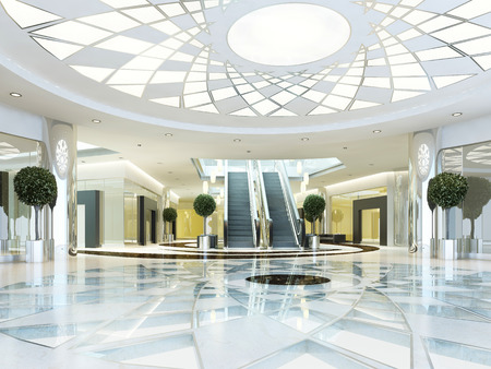 floor level: Hall in Megamall shopping center in a modern style. Suspended ceiling with lighting pattern. Marble patterned floor. Escalator to the second level. 3D render. Stock Photo