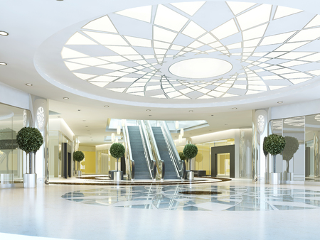 Hall in Megamall shopping center in a modern style. Suspended ceiling with lighting pattern. Marble patterned floor. Escalator to the second level. 3D render. Stock Photo
