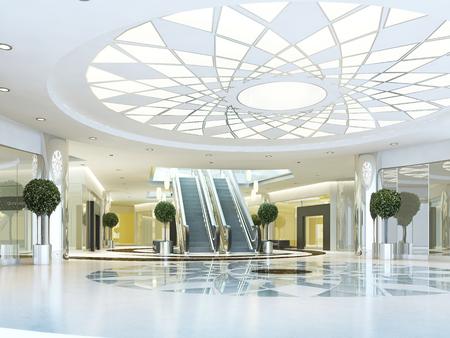 Hall in Megamall winkelcentrum in een moderne stijl. Verlaagd plafond met verlichting patroon. Marmeren patroon vloer. Roltrap naar het tweede niveau. 3D renderen.