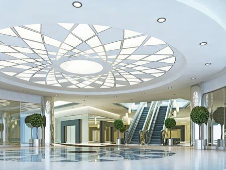 Hall de centre commercial Megamall dans un style moderne. plafond suspendu avec un motif d'éclairage. Marble modelée étage. Escalator au deuxième niveau. Rendu 3D. Banque d'images - 64035201