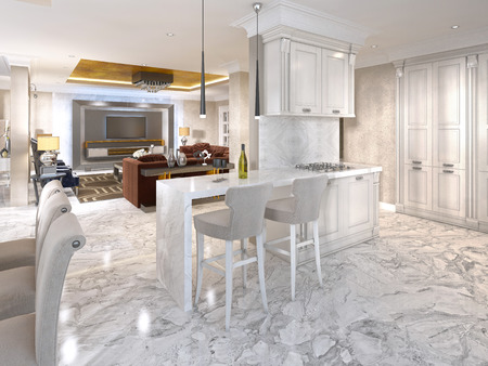 luxury house: Bar counter with bar chairs in luxurious kitchen in the style of art Deco in white. 3D render.