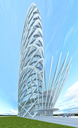 steel tower: The futuristic architecture of the future, made of glass and steel. 3D render Stock Photo