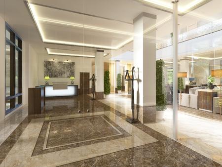 Moderne Design-Lobby mit Empfangsbereich und dekorativen Statuen. 3D übertragen.