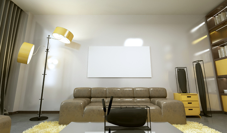 Mockup poster on the wall in a modern living room d render