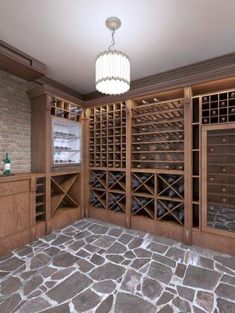 Weinkeller Im Keller Des Hauses In Einem Rustikalen Stil. Offene Weinregale  Mit Flaschen. 3D