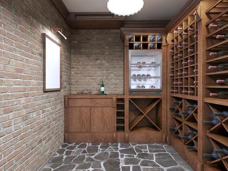 Mockup weißes Plakat auf Backsteinmauer Weinkeller. 3D übertragen. Standard-Bild