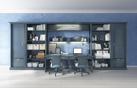 Children's furniture storage system with two built-in desks. Children's has a modern design in blue. 3D render.