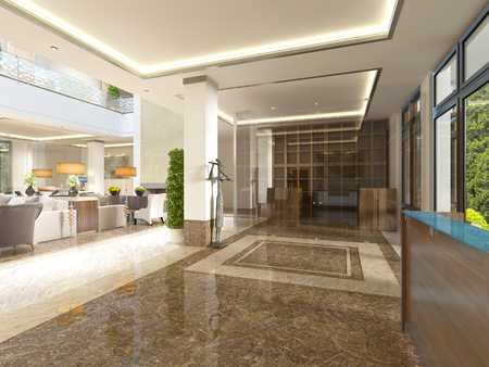 hotel lounge: Modern design lobby with reception area and decorative statues. 3D render.