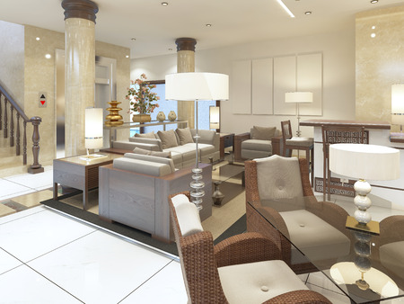 The lounge area in the premises of the Spa hotel. Soft and comfortable chairs with glass tables. 3D render. Stock Photo