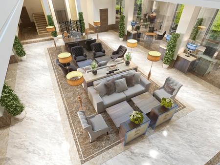 Vista dall'alto della zona salotto con mobili di design di lusso. 3D render.