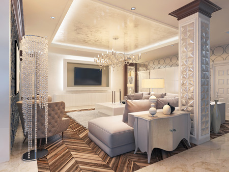 marble wall: Modern living room in white colors with integrated storage for the TV. Large corner sofa and white coffee table. 3D render.