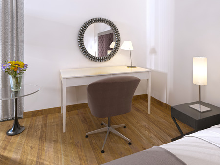 progressive art: White dressing table in a hotel room decorated in contemporary art Deco style and the soft seat fabric. 3D render. Stock Photo