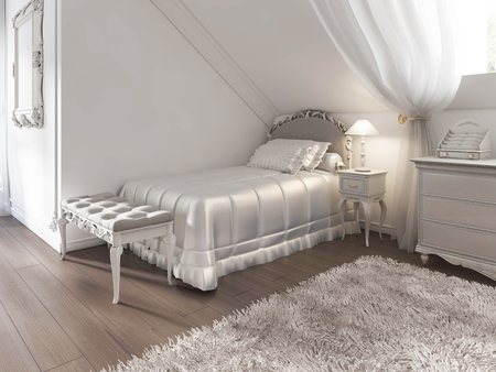 child's: Childrens white bed with blanket and pillows in art Deco style. The bed bench and night table with lamp. 3D render.