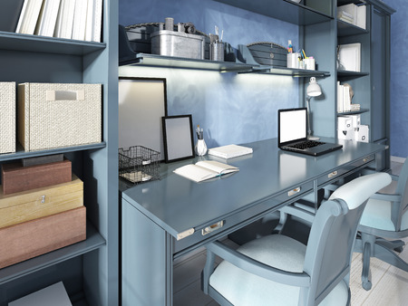 work book: One Desk for two seats in a modern nursery. Storage and shelves with decor and books. 3D render.