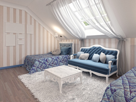 color 3d: Luxury childrens bedroom for two kids with twin beds in blue and milk color. 3D render. Stock Photo