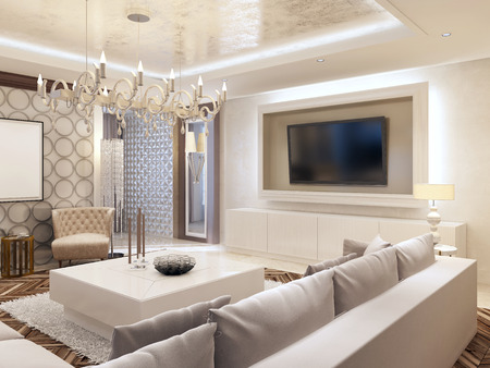living room wall: Modern living room in white colors with integrated storage for the TV. Large corner sofa and white coffee table. 3D render.