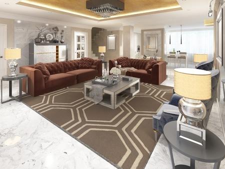 superficie: diseño de lujo apartamento-estudio en estilo art déco. sala de estar mezclando suavemente en el comedor y la cocina. El techo de oro y el suelo de mármol blanco. render 3D. Foto de archivo