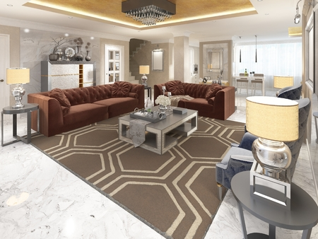 areas: Luxury designer apartment-studio in art Deco style. Living area blending smoothly into the dining room and kitchen. The Golden ceiling and the marble white floor. 3D render. Stock Photo