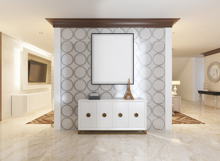 anteroom: Interior wall in the hallway and chest decorated in the style of art Deco. On the wall white mockup poster. 3D render.