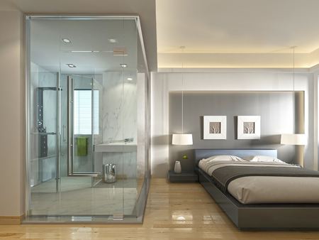 A luxury hotel room in a contemporary design with glass and see-through bathroom. 3D render.