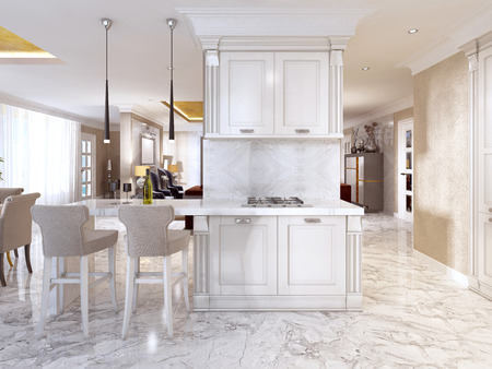 Bar counter with bar chairs in luxurious kitchen in the style of art Deco in white. 3D render.
