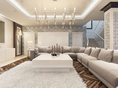 Luxury art Deco design bright living room with large corner sofa and two armchairs. 3D design.