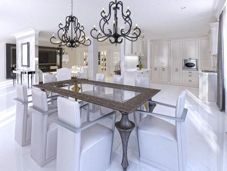 Luxe eetkamer met eettafel en designstoelen. houten tafel en glazen