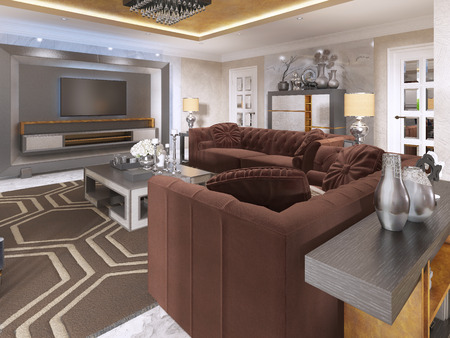 coffee table: Luxurious living room in art Deco style with purple sofas and arm chair and storage on the TV. Coffee table and console with the decor. 3D render. Stock Photo