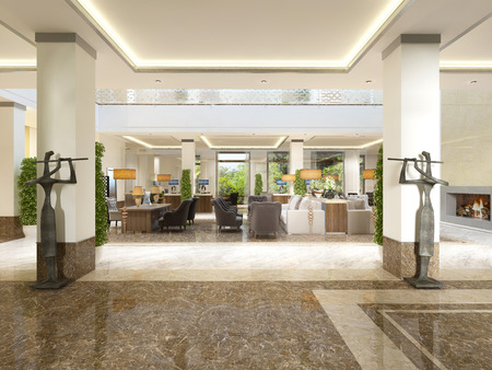 Modern design lobby with reception area and decorative statues. 3D render.