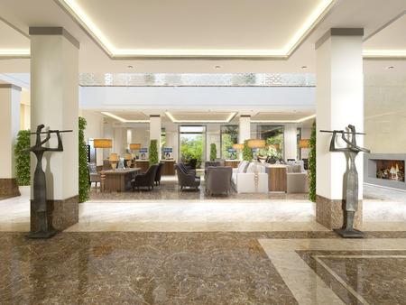 Moderne hall design avec réception et statues décoratives. Rendu 3D. Banque d'images - 68036426