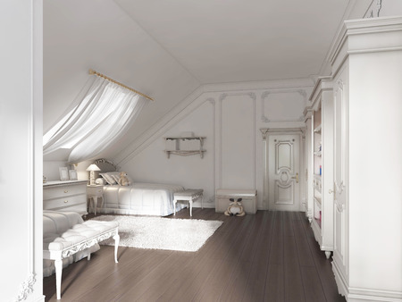 Luxury childrens room for two children in art deco style. the
