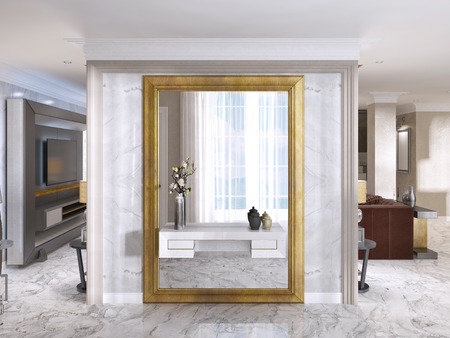 large gold frames luxurious art deco entrance hall with a large designer mirror in